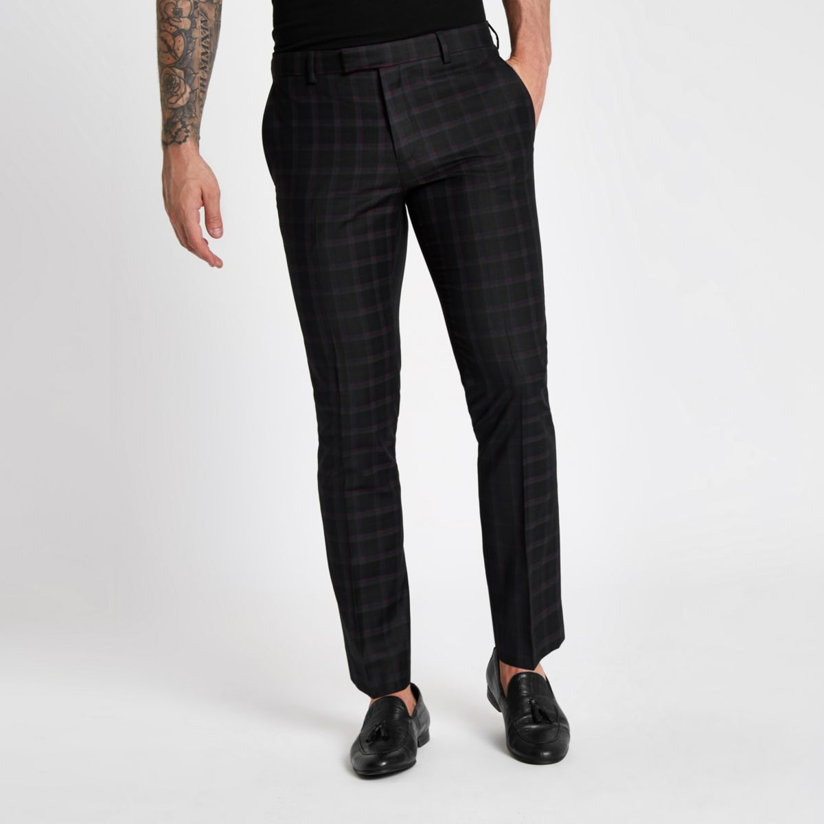 Mens Black and burgundy check skinny suit trousers River Island zgHWyrs