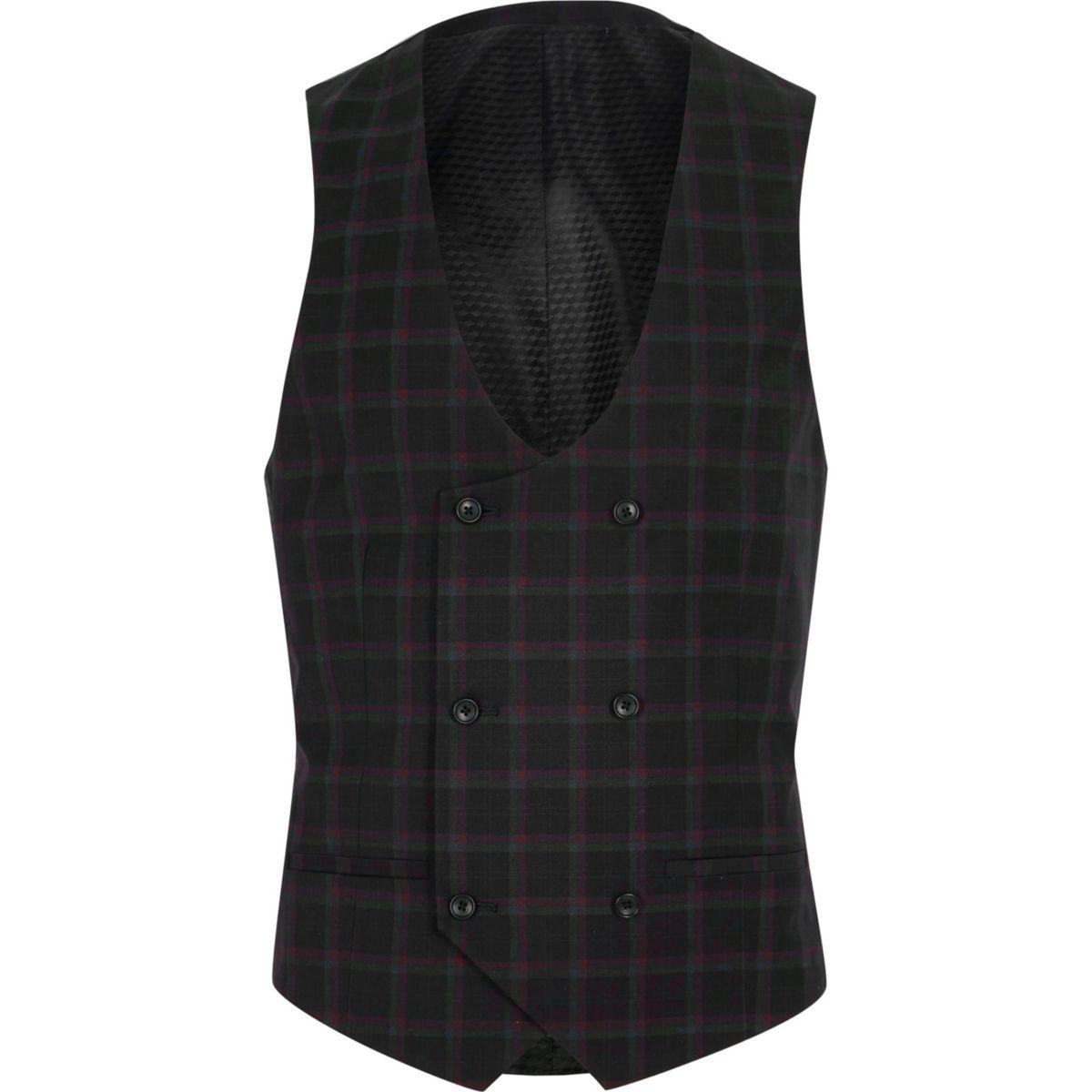 suit waistcoat burgundy Black check and Xv7p6p