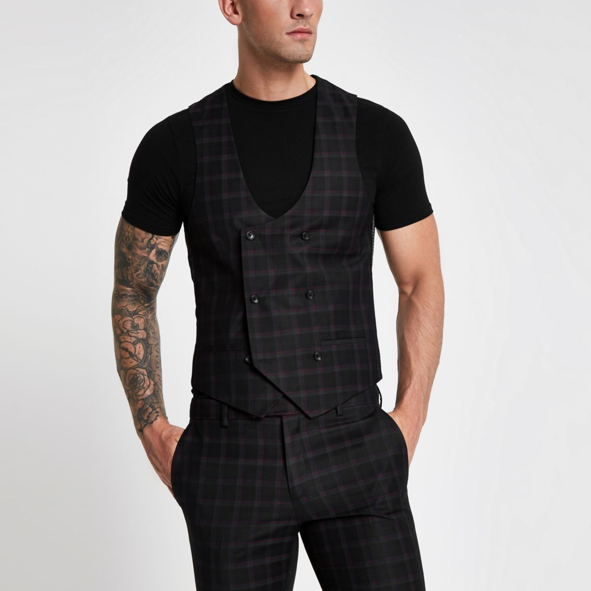 Black and burgundy check suit waistcoat