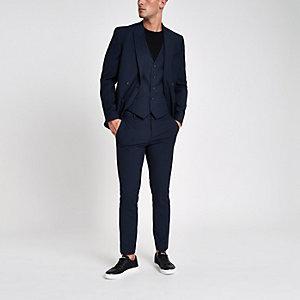 Blauwe geruite skinny-fit pantalon
