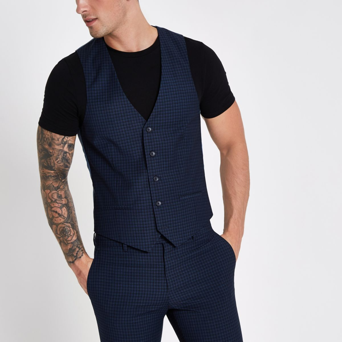 Blue check suit waistcoat