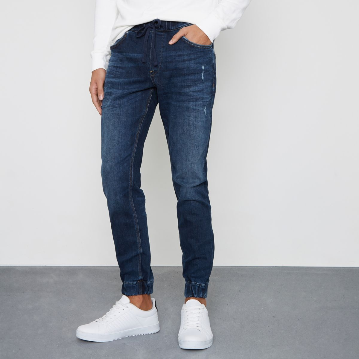 Dark Blue Wash Ryan Jogger Jeans by River Island