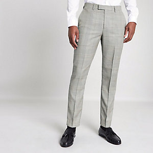 Grijze geruite slim-fit pantalon