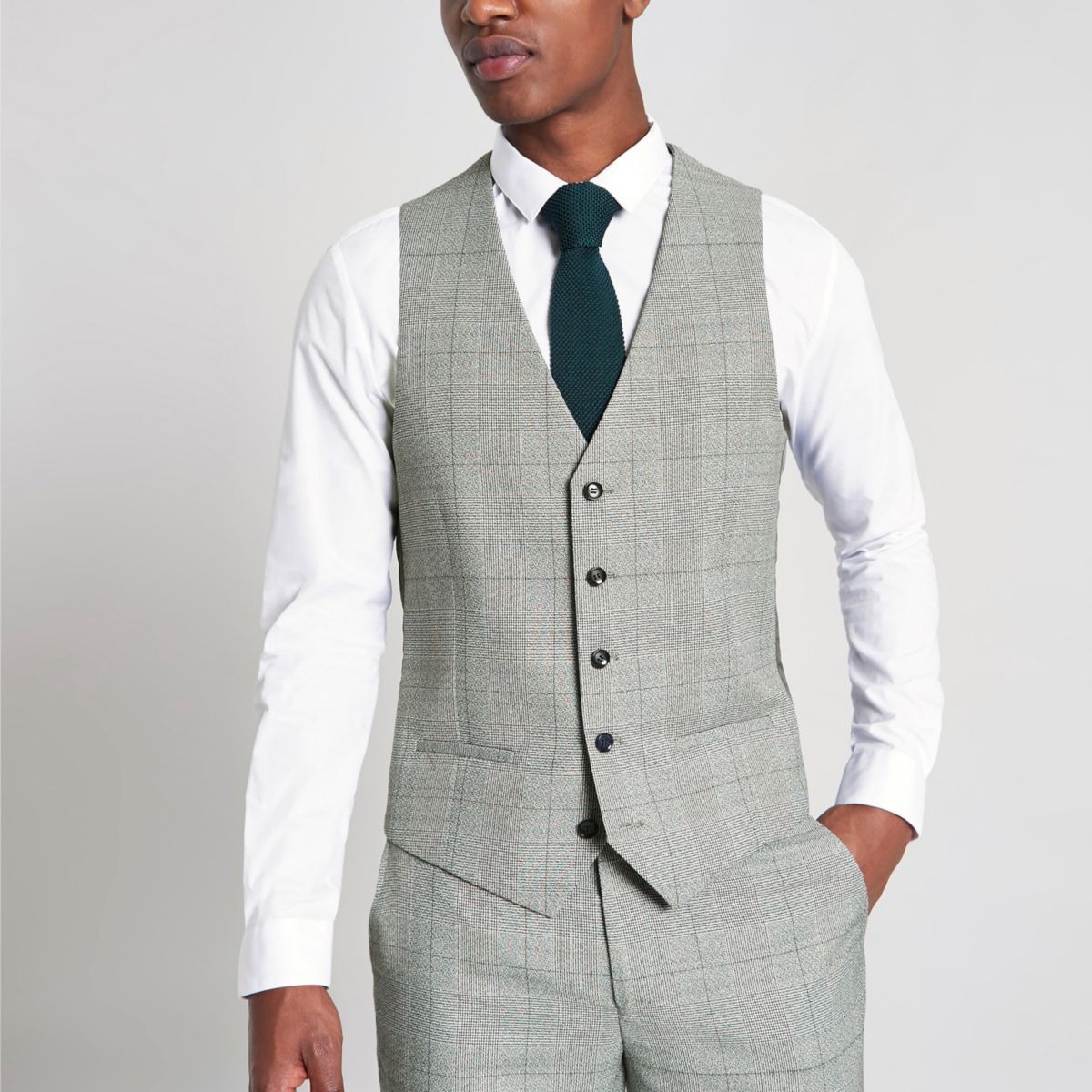 Grey check suit vest