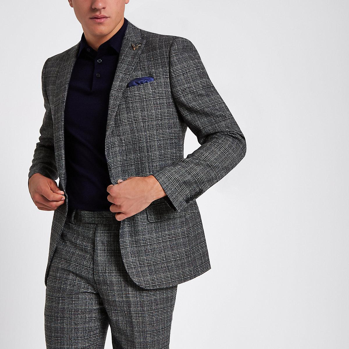 Grey heritage check slim fit suit jacket