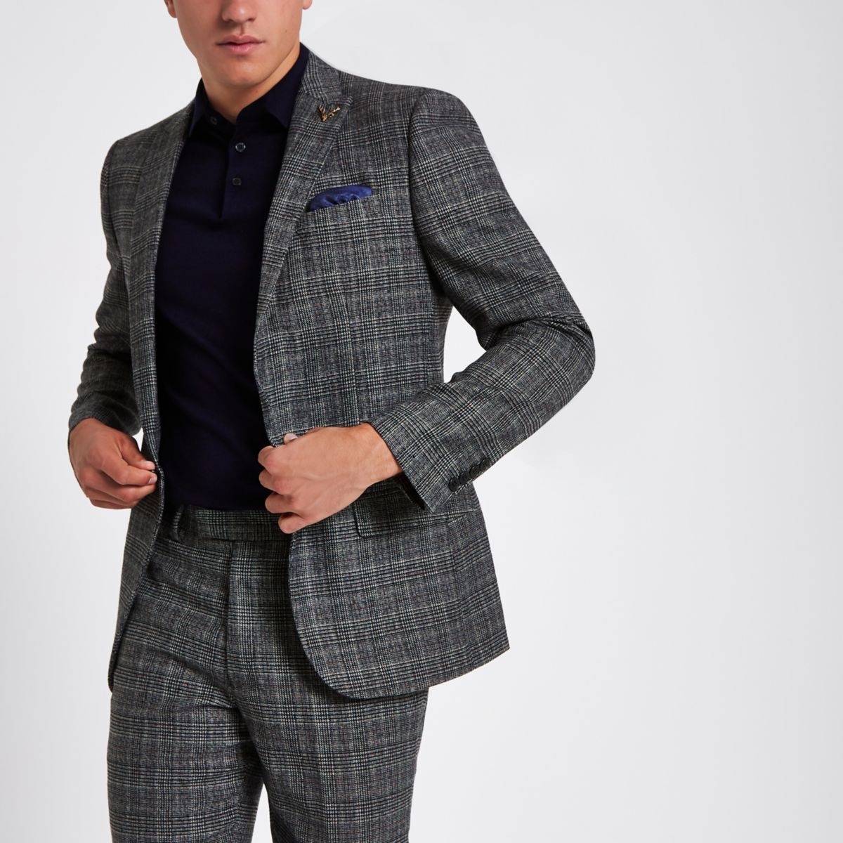 Grey heritage check slim fit suit jacket