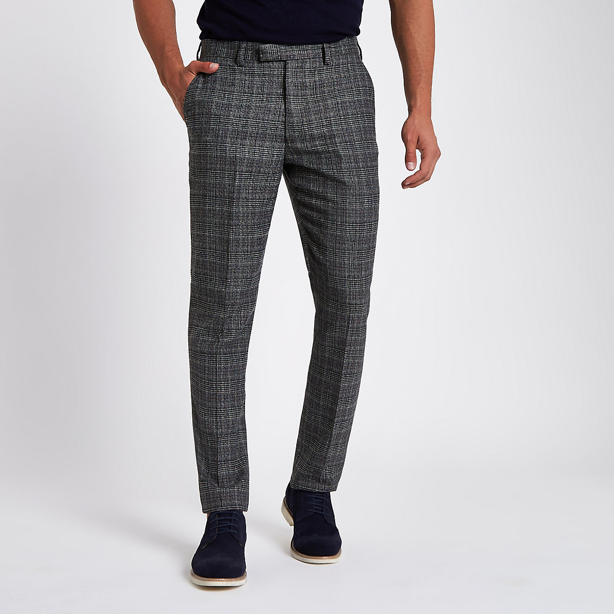 Grey heritage check slim fit suit trousers