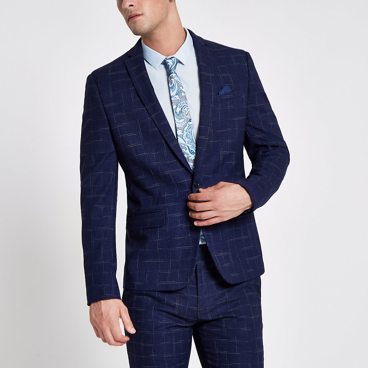Navy check skinny fit lined suit jacket