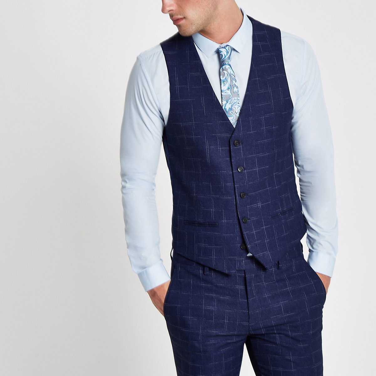 Navy check suit waistcoat - Suits - Sale