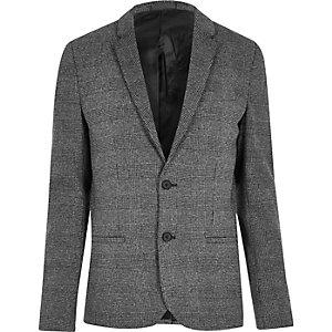 Big & Tall – Blazer à carreaux gris