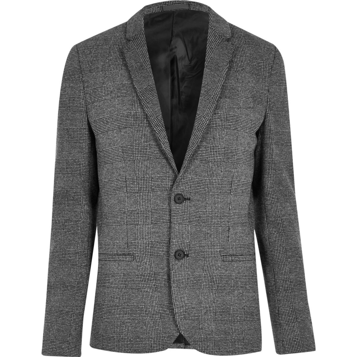 Big & Tall – Blazer à carreaux gris