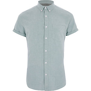 Forest green short sleeve Oxford shirt