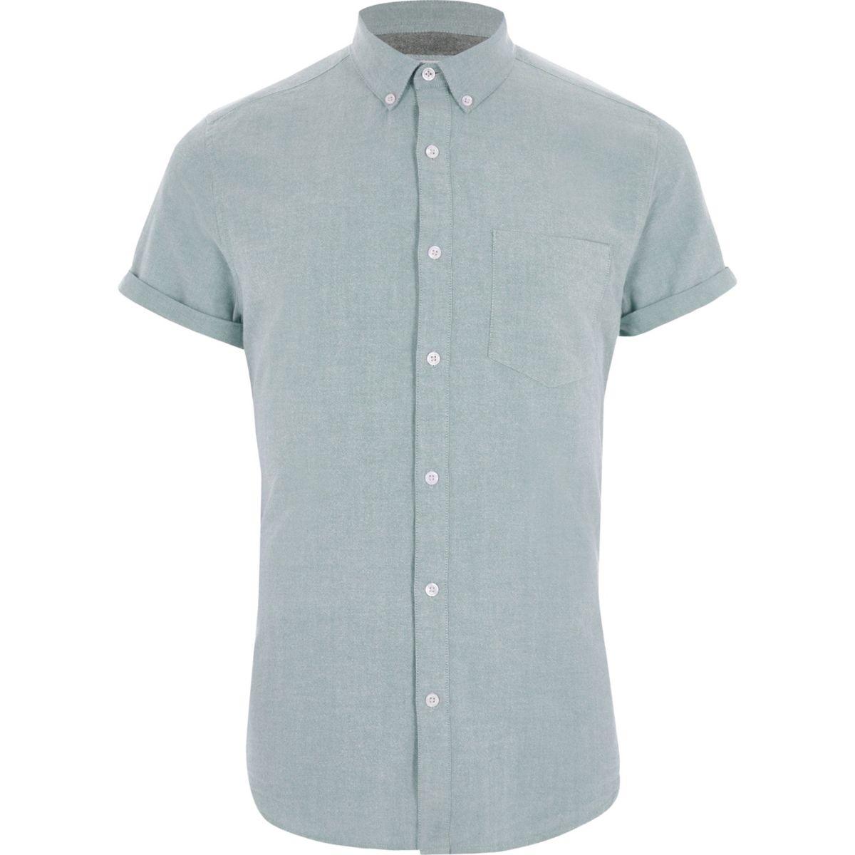 Forest green short sleeve Oxford shirt