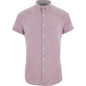 Chemise Oxfort rose à manches courtes
