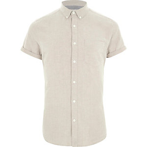 Cream short sleeve Oxford shirt