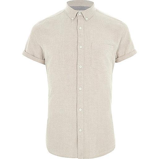 Cream short sleeve Oxford shirt