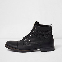 Black leather knit panel work boots