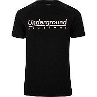 Black waffle 'underground' crew neck T-shirt