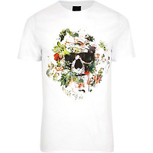 White skull floral print slim fit T-shirt