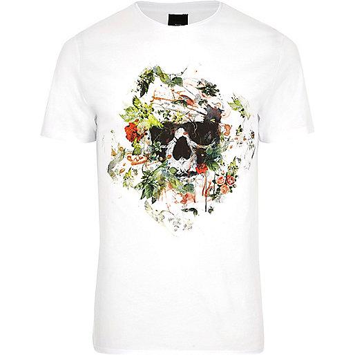 White skull floral print slim fit T-shirt