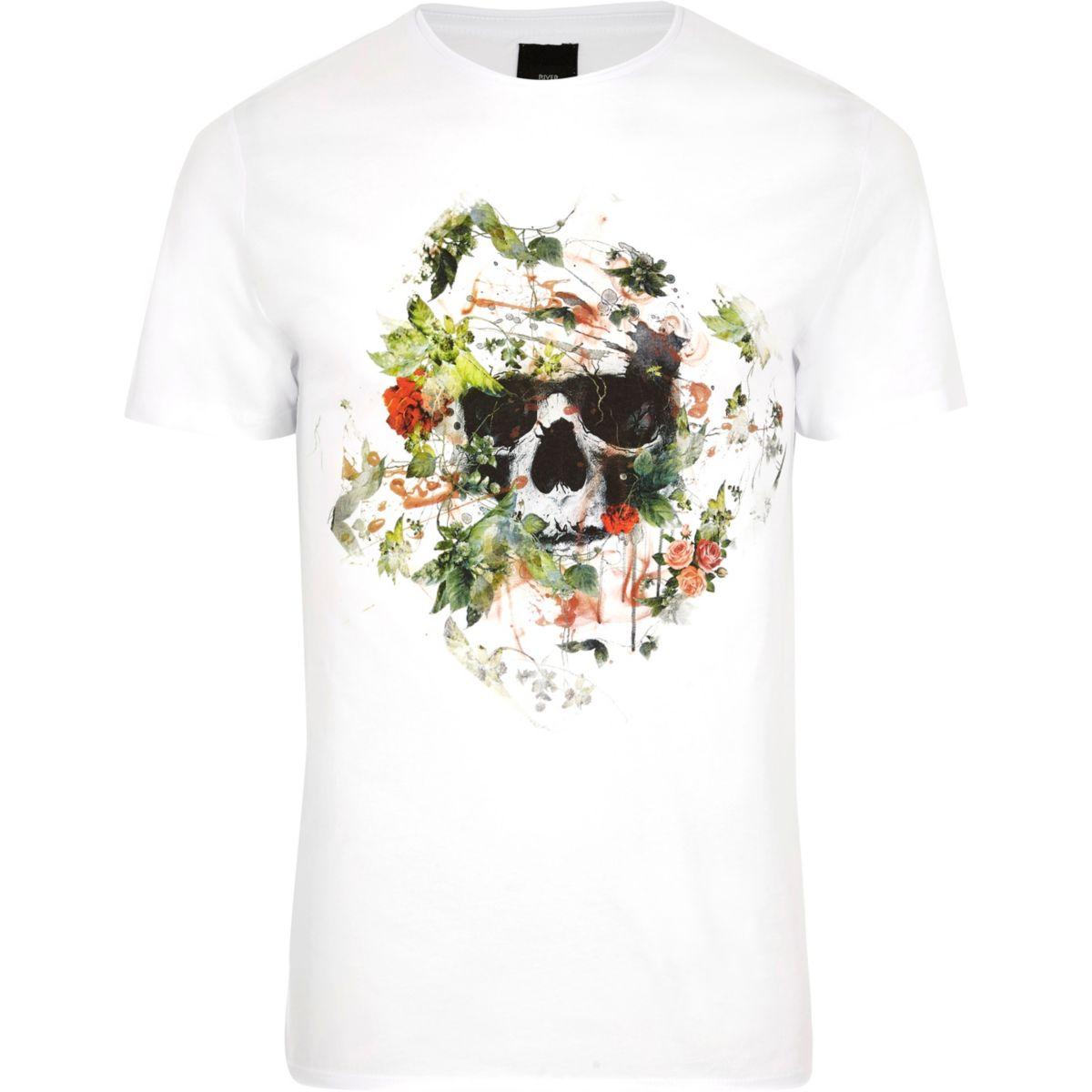 T shirt slim fit white - White Skull Floral Print Slim Fit T Shirt