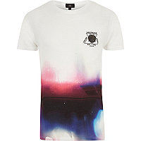 White color fade print crew neck T-shirt