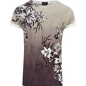 T-shirt grège à fleurs en dégradé à col ras-du-cou