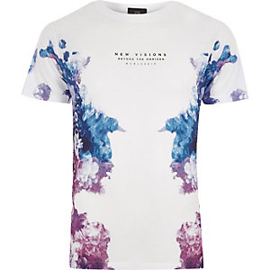 T-shirt imprimé «new visions» à fleurs en dégradé blanc