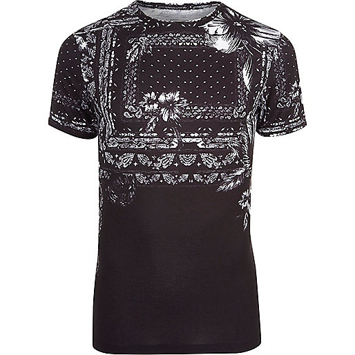 Black floral bandana print muscle fit T-shirt