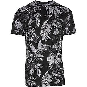 T-shirt slim imprimé palmiers noir et blanc