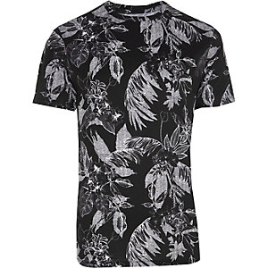 Zwart slim-fit T-shirt met witte palmprint