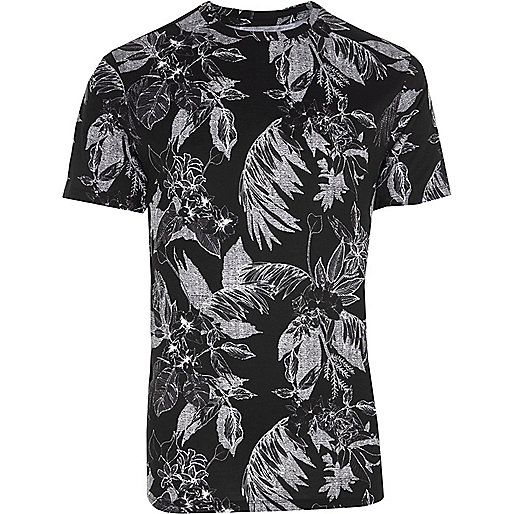 Black mono palm print slim fit T-shirt