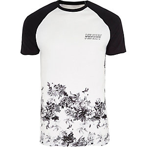 White floral hem muscle fit raglan T-shirt