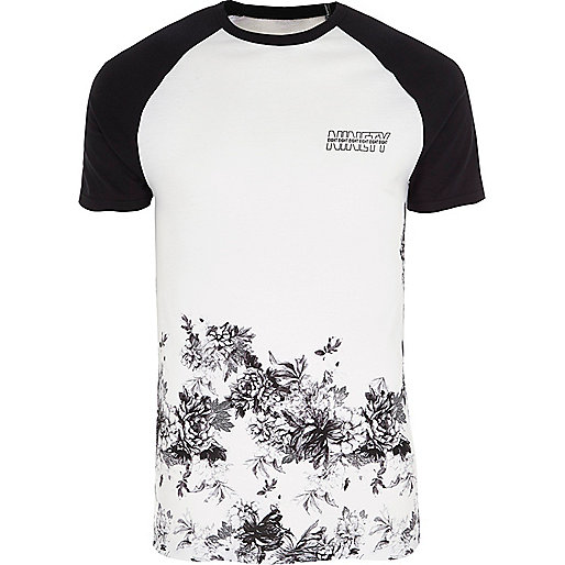 White floral hem muscle fit raglan T-shirt