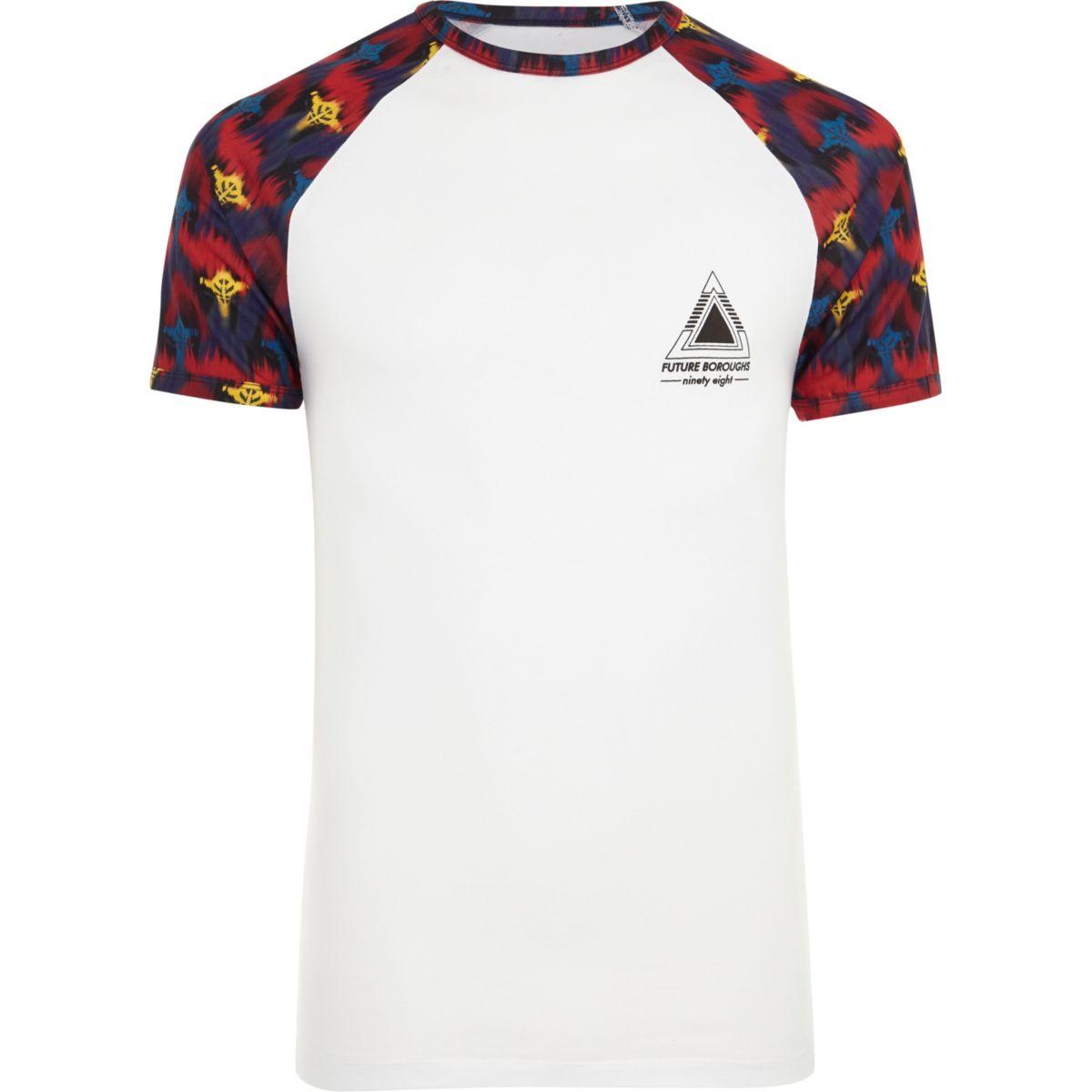 White tribal print raglan sleeve T-shirt