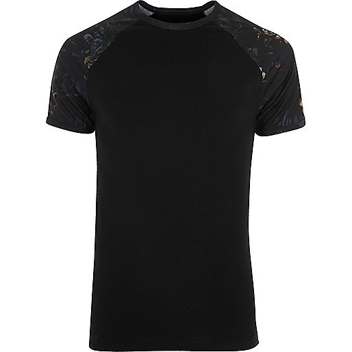 Black floral raglan sleeve muscle fit T-shirt