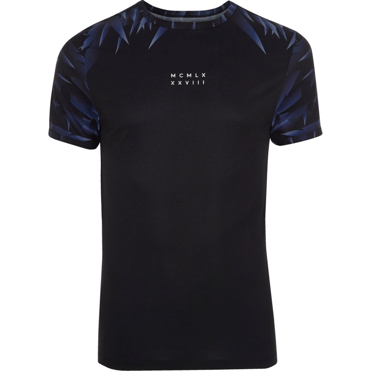 Black numerals print muscle fit T-shirt