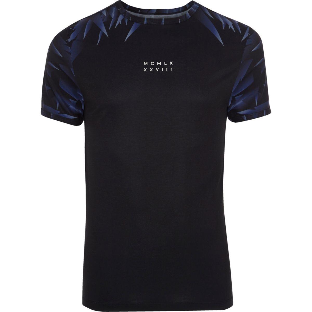 T-shirt ajusté noir imprimé nombres