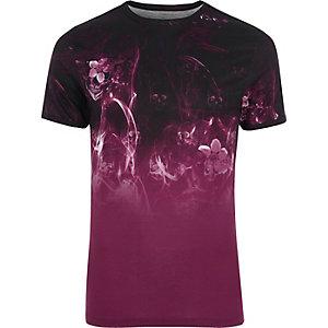 T-shirt ajusté imprimé fumée à fleurs noir