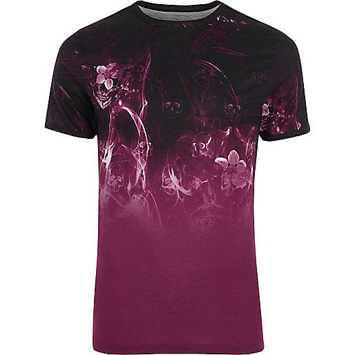 Black floral smoke print muscle fit T-shirt