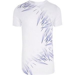 T-shirt ajusté imprimé fragments blanc