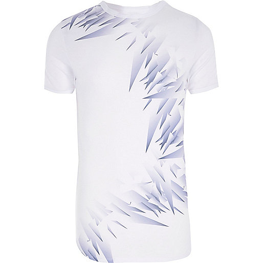 White shard print muscle fit T-shirt