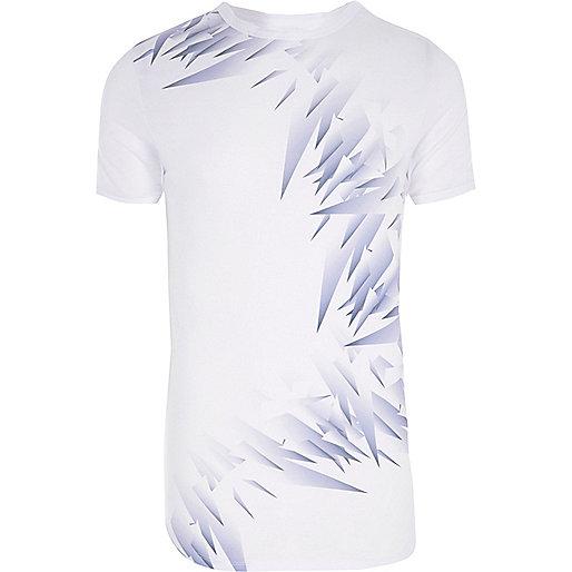 White shard print muscle fit T-shirt