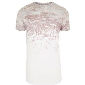 T-shirt ajusté imprimé délavé blanc