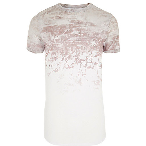 White fade print muscle fit T-shirt