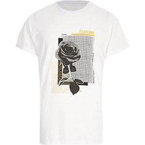 White mono rose print short sleeve T-shirt