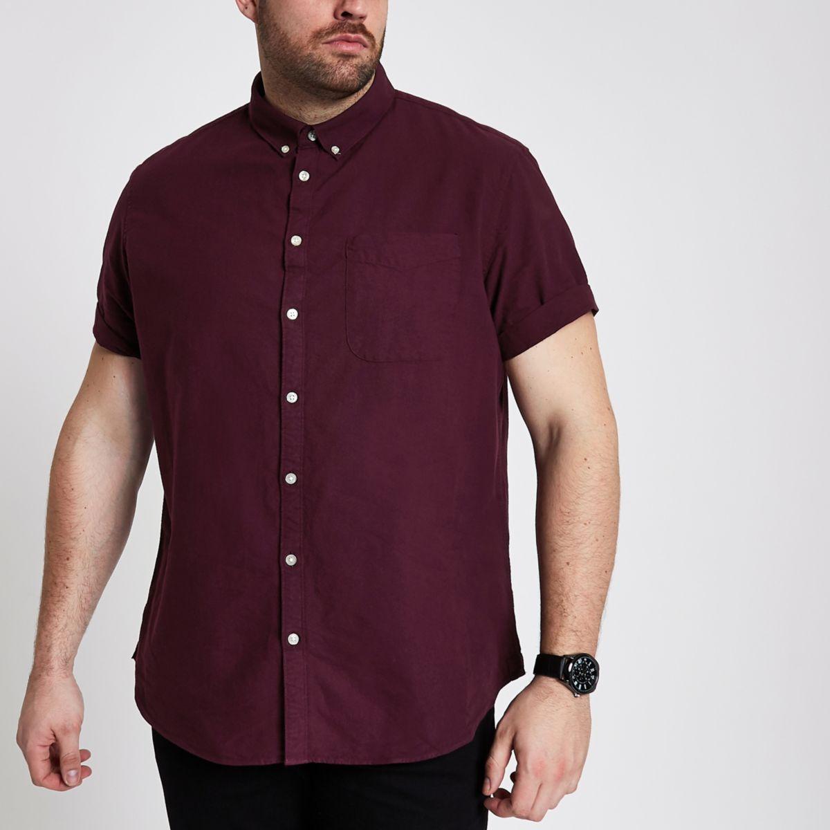 Big and Tall burgundy short sleeve shirt