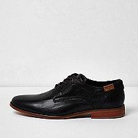 Chaussures en cuir noires et fauves habillées
