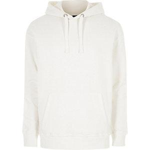 Witte ruimvallende hoodie met lange mouwen