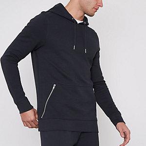Marineblauwe aansluitende hoodie van piqué-katoen met ritszak